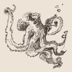 Octopus vintage illustration, engraved retro style, hand drawn