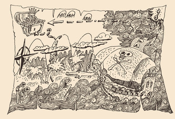Island Treasure Map (pirate map), engraved illustration