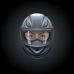 Fototapete - Face in a black helmet