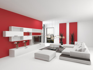Modern living room interior with vivid red accents