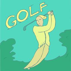 Golfer (golf) vector Illustration, hand drawing