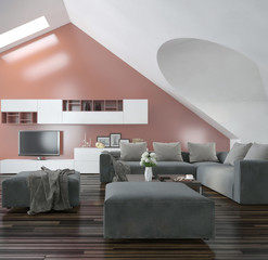 Modern living room with sloping apex walls