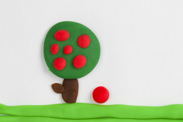 Plasticine fruit tree.