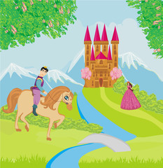 Poster Prince riding a horse to the princess