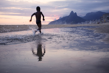 Rio de Janeiro Ipanema Beach Scenic Dusk Sunset Reflection
