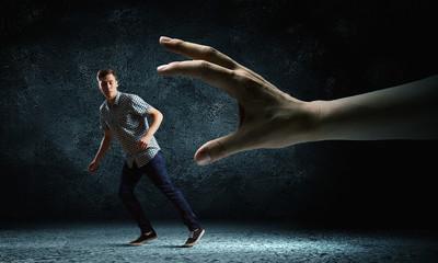 Man running away