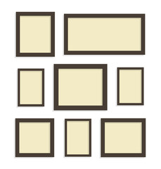 Eight blank picture frames