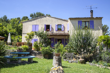 Cottage, house with purple shutter, Provence. France.
