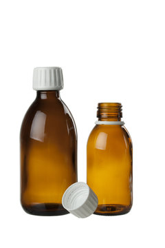 brown glass bottle for medical syrup