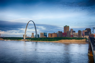 early morning Cityscape of St. Louis skyline in Missouri state
