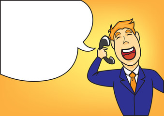 businessman say with telephone