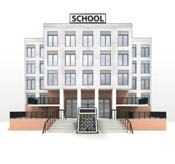 calculator in front of modern school building