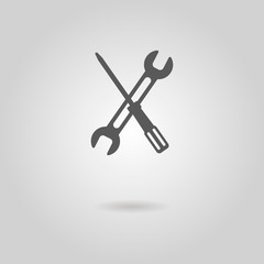screwdriver and wrench icon with shadow