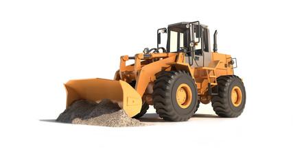 bulldozer working on a white background