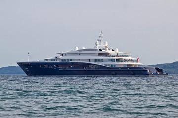 Megayacht floating on open sea