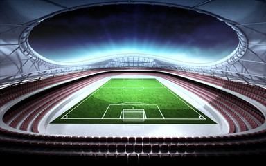 football stadium general view with cloudy background