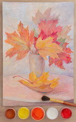 Still-life with autumn leaves