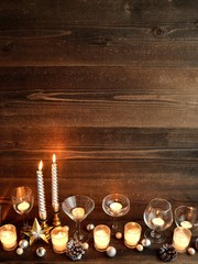 Wine grasses,candles and Christmas ornaments