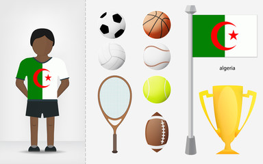 Algerian sportsman with sport equipment collection vector