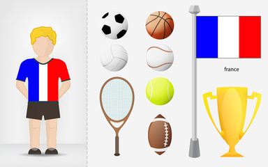 French sportsman with sport equipment collection vector