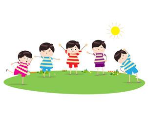 little children doing morning exercises
