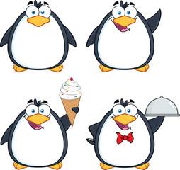 Penguin Cartoon Mascot Character Poses 9. Collection Set