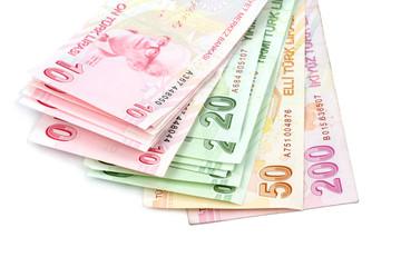 Turkish banknotes. Turkish Lira ( TL ) on white background.
