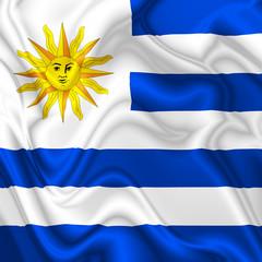 Uruguay Waving Silk Flag