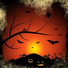 Halloween Bats Represents Trick Or Treat And Autumn