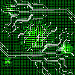 Electronic Circuit Represents Hi Tech And Backgrounds