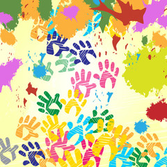 Splash Handprints Indicates Colorful Blobs And Human