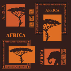 Collection of silhouettes. African tree and elephant