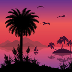 Tropical sea landscape with palms and ship