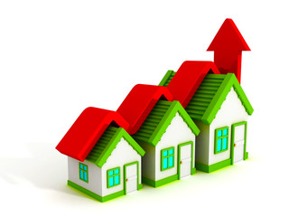Growth real estate concept house graph with rising arrow
