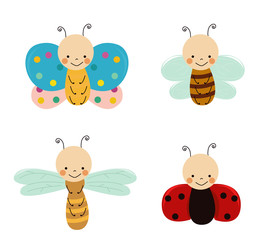 Cute insects set