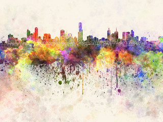 Wall Mural - Melbourne skyline in watercolor background