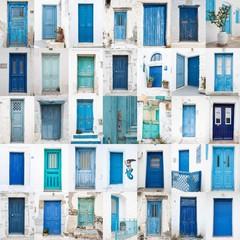 Fototapete - Collage griechischer Holz Türen: blau, türkis, grün