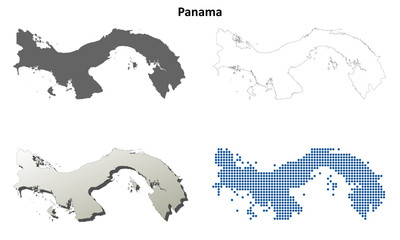 Panama blank detailed outline map set