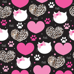 Leopard coat heart with cat face pattern vector