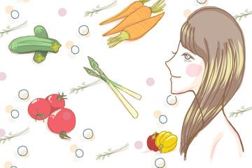 女性と健康野菜のイメージ