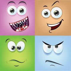 Мультфильм лица с эмоциями
