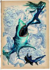 Digital Painting: Shark Attack