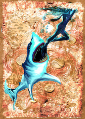 Digital Painting: Shark Attack