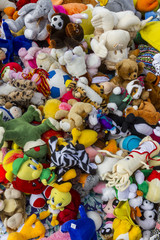 Colorful dolls in a flea market
