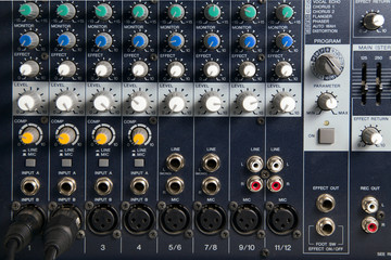 equipment mixer sound on studio adjusting record