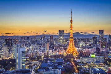 Türaufkleber Tokio Tokyo Japan City Skyline