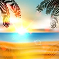 Summer beach background - vector