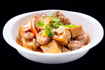 Bean curd cooked pork ribs, Chinese traditional cuisine isolated