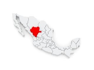 Map of Durango. Mexico.