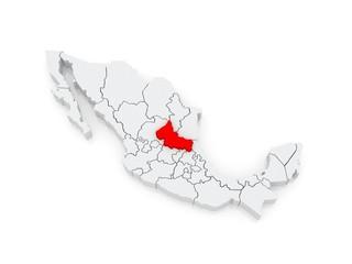 Map of San Luis Potosi. Mexico.